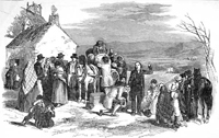 Engraving showing a priest blessing his flock in an Irish village, as they load up a cart with all their possessions to emigrate to America, 1851.